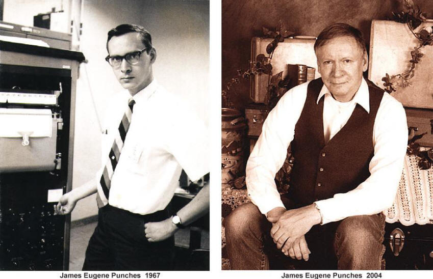 Portraits of James E Punches in 1967 and 2004